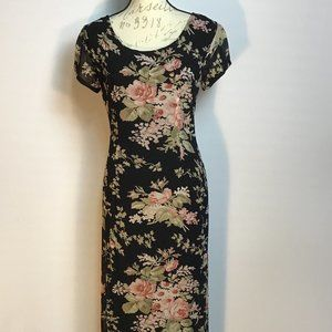 90's Style Rayon Floral Maxi Dress